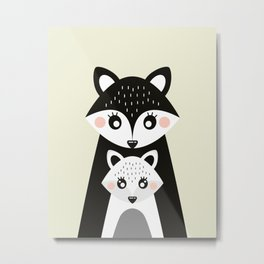 Scandinavian Mother and baby Fox Metal Print