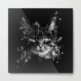 cat eyes splatter watercolor black white Metal Print