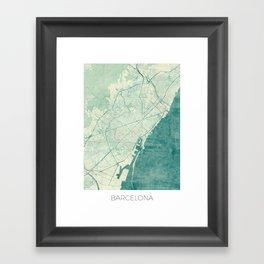 Barcelona Map Blue Vintage Framed Art Print