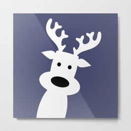 Reindeer on blue background Metal Print