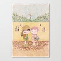 moonrise kingdom Canvas Prints featuring moonrise kingdom by yohan sacre