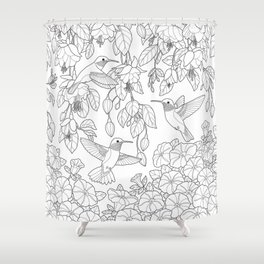 Hummingbirds and Flowers Coloring Page Shower Curtain