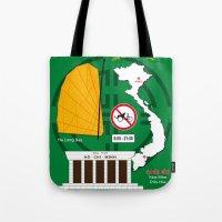 vietnam Tote Bags featuring Vietnam Hanoi by Vintage Deco Print Posters