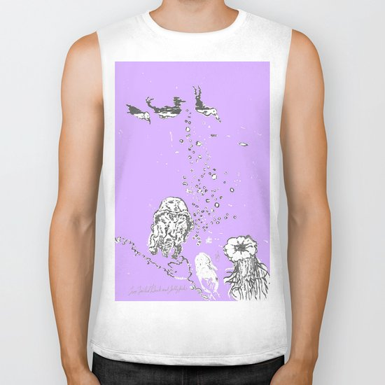 Two Tailed Duck and Jellyfish Purple Grape Biker Tank