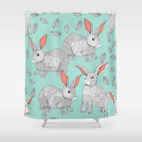rabbits Shower Curtains featuring Rabbits by Wee Jock