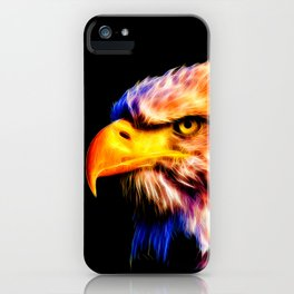 bald eagle 03 neon lines meteor iPhone Case