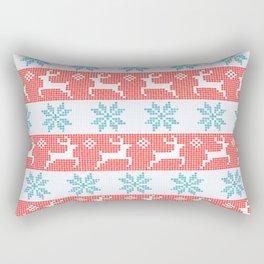 Watercolor Fair Isle in Blue & Red Rectangular Pillow
