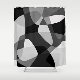 Mid Century Modern Abstract Rock Layers Charcoal Shower Curtain