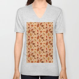 Leaves and pumpkins Unisex V-Neck