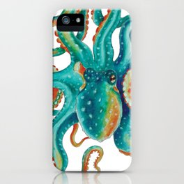 Octopus Tentacles Teal Green Watercolor Art iPhone Case