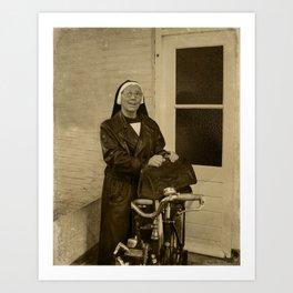 Nurse and her Solex Art Print