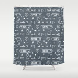 Code and things pattern - Blue Shower Curtain