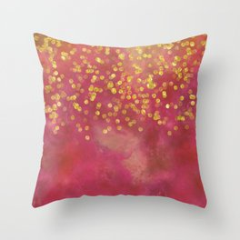 Golden Sparkles on Red Throw Pillow