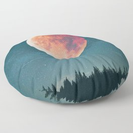 Blood Moon Over the Forest on a Starry Night Floor Pillow