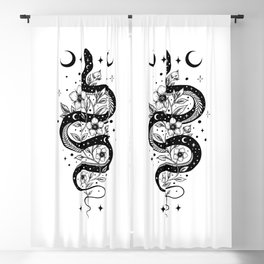Serpent Spell -Black and White Blackout Curtain
