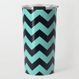 Chevrons Black & Aqua Travel Mug