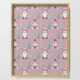 CHRISTMAS GNOMES - pink Serving Tray