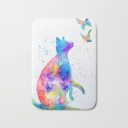colorful kitten painting Bath Mat