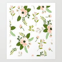 flower pattern Art Prints featuring Flower Pattern by Jenna Davis Designs