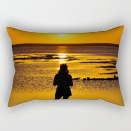 A Girl watching sunset..... Rectangular Pillow