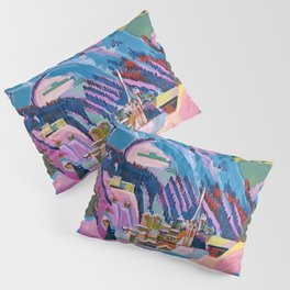 Davos, Swiss Alps in Winter Mountain Landscape by Ernst Ludwig Kirchner Pillow Sham