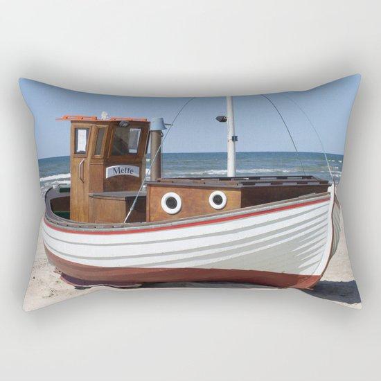 Fishing Boat on the Beach Rectangular Pillow