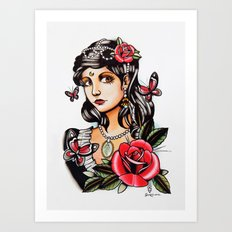 Girl with Butterflies - tattoo Art Print