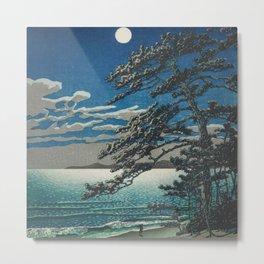 Spring Moon at Ninomiya Beach nautical maritime beach landscape coastal painting by Kawase Hasui Metal Print