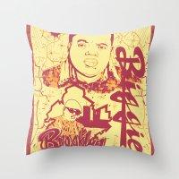 biggie Throw Pillows featuring BIGGIE by DaeSyne Artworks
