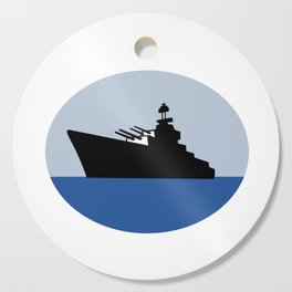 World War Two Battleship Destroyer Oval Retro Cutting Board