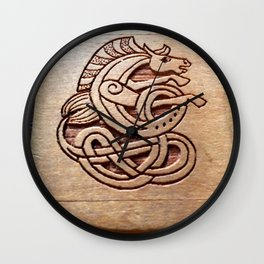 Horse carved in wood Wall Clock