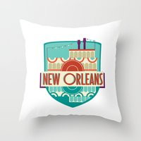 new orleans Throw Pillows featuring NEW ORLEANS by Fedi