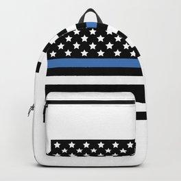 Blue Thin Flag Police Law Enforcement Flag Backpack