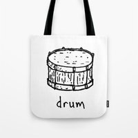 drum Tote Bags featuring drum by Isaac Collmer