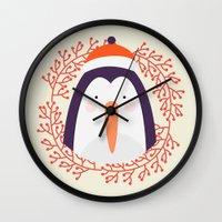 penguin Wall Clocks featuring penguin by Taranta Babu