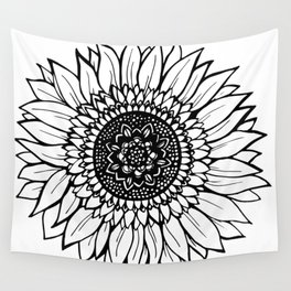 B&W Sunflower Wall Tapestry