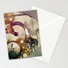 Funny giraffe, steampunk with clocks and gears Stationery Cards