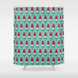 Pop Rockets on Aqua Shower Curtain