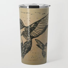 Humming birds lino print Travel Mug