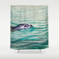 seal Shower Curtains featuring Swimming Seal by Nuart Media Group