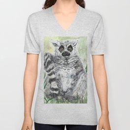 Ring-Tailed Lemur - cute animal, nature, lemur, eyeroll, zero given, not impressed, animals Unisex V-Neck