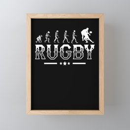 Rugby Evolution Retro Style Graphic Framed Mini Art Print