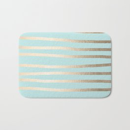 Simply Drawn Stripes White Gold Sands on Succulent Blue Bath Mat
