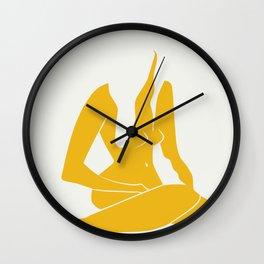 Long hair nude in yellow Wall Clock