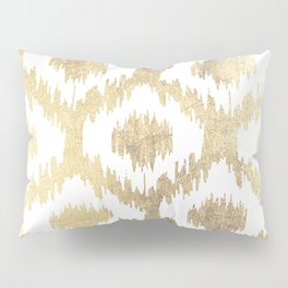 Modern white hand drawn ikat pattern faux gold Pillow Sham