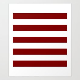 Maroon (HTML/CSS) - solid color - white stripes pattern Art Print