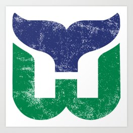 Hartford Whalers Distressed Logo - Defunct Hockey Team - New England & Massachusetts Sports Heritage  Art Print