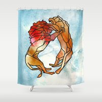 lions Shower Curtains featuring Lions by madbiffymorghulis