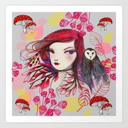 Red Owl Gal Art Print