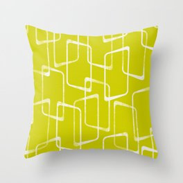 Lime Green Retro Geometric Pattern Throw Pillow